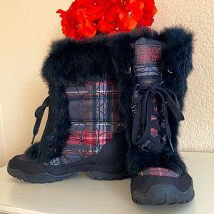 LIKE NEW Coach Jennie tartan fur boots